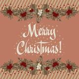 Christmas wreath. Christmas. New Year. Vector vintage illustration. Christmas wreath. Christmas. New Year Royalty Free Stock Image