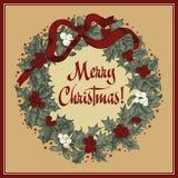 Christmas wreath. Christmas. New Year. Vector vintage illustration. Christmas wreath. Christmas. New Year Stock Photography