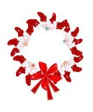 Christmas Wreath with Christmas Stocking and Red B Royalty Free Stock Image