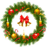 Christmas wreath with christmas tree and bell. Royalty Free Stock Image