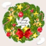 Christmas wreath and Christmas tree. Christmas wreath and Christmas tree  for card design Royalty Free Stock Photo