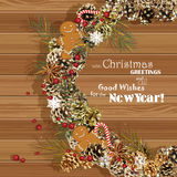 Christmas wreath with christmas tree, pine cones, Christmas decorations, berries, flowers and ribbons. New Year's Eve. Postcard. V. New Year. Vector illustration Royalty Free Stock Photo
