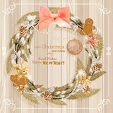 Christmas wreath with christmas tree, pine cones, Christmas decorations, berries, flowers and ribbons. New Year's Eve. New Year. Vector illustration. Snowflakes Stock Photo