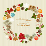 Christmas wreath with christmas tree, pine cones, Christmas decorations, berries, flowers and ribbons. New Year's Eve. New Year. Vector illustration. Snowflakes Royalty Free Stock Images