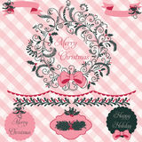 Christmas Wreath Clipart and Paper Set Stock Photos