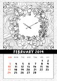 Christmas wreath clock, coloring book page calendar. Merry Christmas and Happy New Year calendar to second month of winter February 2019. Mono outline doodle vector illustration