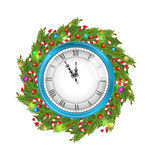 Christmas Wreath with Clock Stock Photography