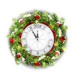 Christmas Wreath with Clock, New Year Decoration on White Background. Illustration Vector stock illustration