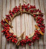 Christmas wreath on cloth Stock Photography