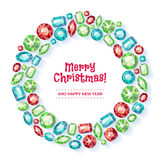 Christmas wreath collected of gems. Royalty Free Stock Photos