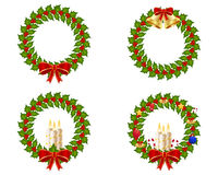 Christmas wreath collection. A collection of four holly wreath to celebrate christmas stock illustration