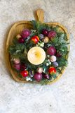 Beautiful Colorful Christmas Wreath. Colorful Christmas Wreath in the Details royalty free stock photos