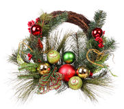 Christmas wreath with colorful balls isolated Royalty Free Stock Image