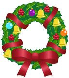 Christmas Wreath with Colorful Decoration Royalty Free Stock Photos