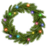 Christmas wreath with colorful lights Stock Images