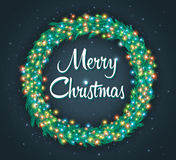 Christmas wreath, colourful glowing garland. Light effects, greeting card Stock Image
