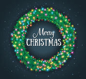 Christmas wreath, colourful glowing garland. Light effects, greeting card Stock Photos