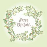 Christmas wreath composition of  mistletoe, fir branches, cones,. Christmas  wreath  composition of mistletoe, fir branches, cones, holly and other plants. Cover Stock Image