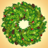 Christmas wreath with cones and holly berry. Vector illustration of Christmas wreath Stock Images