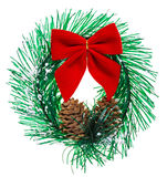 Christmas wreath with cones and red bow Royalty Free Stock Images