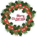 Christmas wreath of conifer ang holly branch with berries on white backgriound, vector illustration Royalty Free Stock Photos