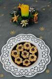 Christmas wreath and cookies. Christmas cookies and christmas wreath Royalty Free Stock Photography