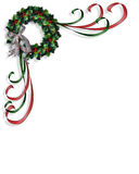 Christmas wreath corner design Stock Photos