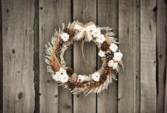 Christmas wreath with and cotton. Christmas wreath with pine cones and cotton Royalty Free Stock Images