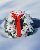 Christmas Wreath Covered in Snow Royalty Free Stock Photography