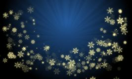 Christmas wreath created from glowing gold color snow flakes on gradient blue color background with ray lights at center. vector illustration