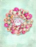Christmas wreath, decor for new year. Merry Christmas Card wreath with colorful balls and bells. Holiday background Royalty Free Stock Images