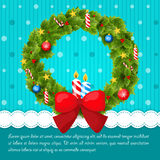 Christmas wreath decorated with balls, stars and Royalty Free Stock Image