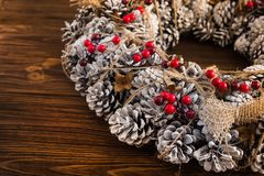 Christmas wreath decorated Stock Photo