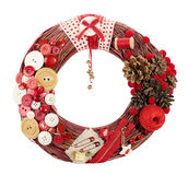 Christmas wreath decorated by cloth buttons Stock Photos