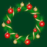 Christmas wreath decorated colorful christmas balls Stock Photo