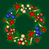 Christmas wreath decorated colorful christmas balls royalty free illustration