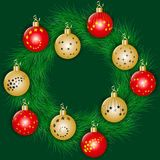 Christmas wreath decorated colorful christmas balls Stock Images