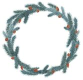 Christmas wreath decorated with Christmas decorations and snowflakes