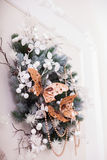 Christmas wreath decorated necklaces, frozen leaves and butterflies Royalty Free Stock Image