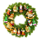 Christmas wreath decorated with ornaments, baubles and toys Royalty Free Stock Images