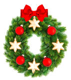 Christmas wreath decorated with red and golden ornaments Stock Images