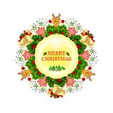 Christmas wreath decorated with stars, snowflakes, bows, lights and little deer. stock illustration