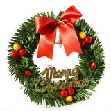 Christmas wreath decoration. On white background royalty free stock images