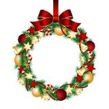 Christmas wreath decoration. From fir branches. Vector illustration Stock Image