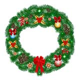 Christmas Wreath with Decoration Balls. And Pine Cones Isolated on White Background. Vector Illustration Stock Images
