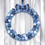 Christmas wreath decoration. From blue and silver Christmas Balls with blue bow knot. Vector illustration Royalty Free Stock Image