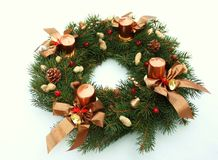 Christmas wreath decoration with candles Royalty Free Stock Photos