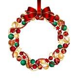 Christmas wreath decoration from Christmas Balls. Vector illustration Stock Photos