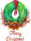 Christmas wreath with decoration christmas tree. Cones berries apples and tangerines Royalty Free Stock Image