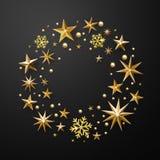 Christmas wreath decoration gold glitter stars, snowflakes. Christmas wreath decoration of gold glitter stars, snowflakes with golden glittering foil gilding Stock Photo